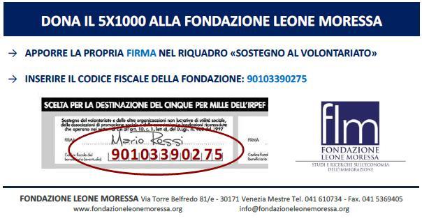 DONA IL 5X1000 ALLA FONDAZIONE LEONE MORESSA